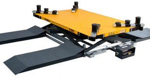 Robusztus kivitelű, pneumatikus működtetésű emelő berendezés, csápkarokkal és 3 féle csápmagasítóval