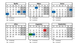 2019 Évi munkaügyi naptár