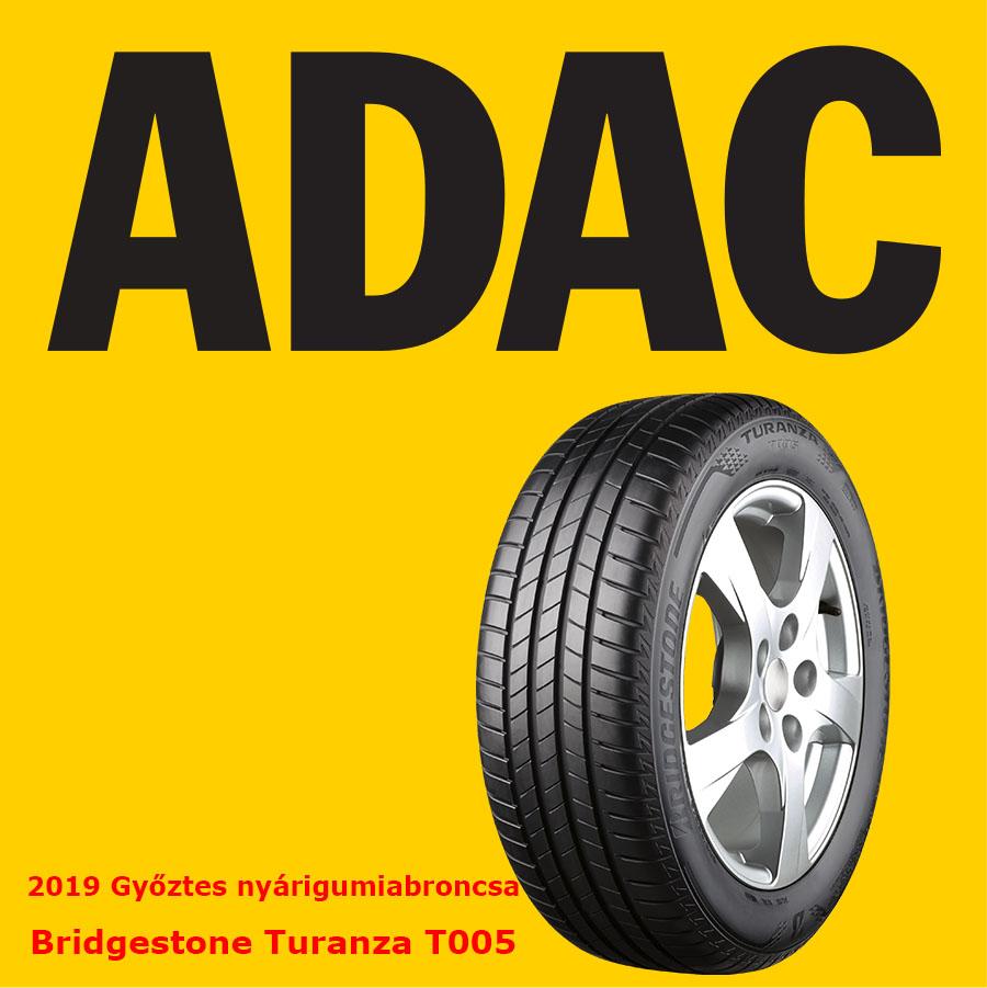 A Bridgestone Turanza T005 abroncsa lett a legjobb az ADAC 2019. évi nyárigumi tesztjén. Az abroncs kiváló minősítést szerzett nedves és száraz útfelületen való használatra.