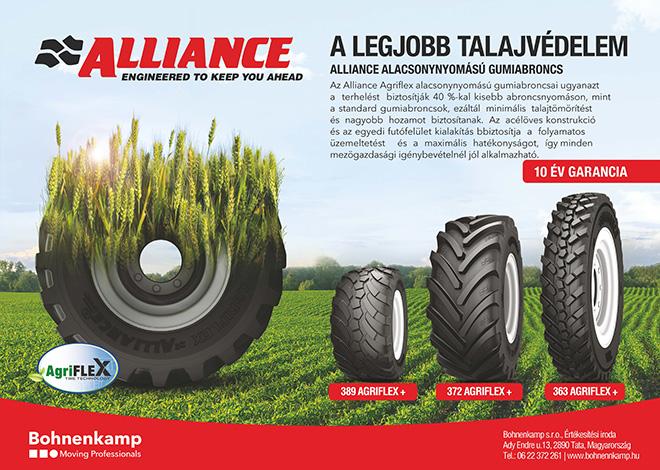 Az Alliance Agriflex alacsony nyomású gumiabroncsai ugyanazta terhelést biztosítják 40 %-kal kisebb abroncsnyomáson, minta standard gumiabroncsok, ez által minimális talajtömörítéstés nagyobb hozamot biztosítanak. Az acélöves konstrukcióés az egyedi futófelület kialakítás biztosítja a folyamatosüzemeltetést és a maximális hatékonyságot, így mindenmezőgazdasági igénybevételnél jól alkalmazható.