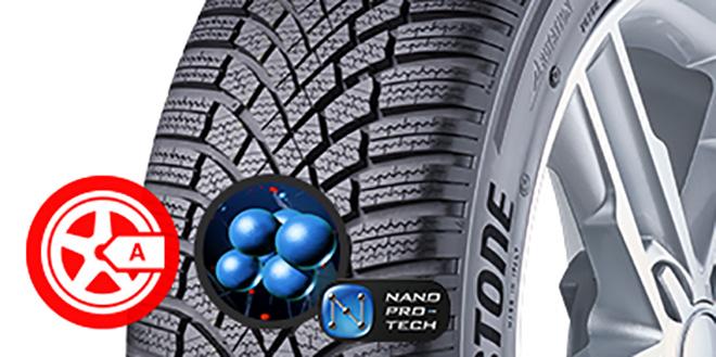 """KATEGÓRIÁJÁNAK LEGJOBB TAPADÁSA ÉS FÉKEZÉSE NEDVES ÚTON Az új nano-szelektív összetevő-keverő technológia lehetővé teszi a Nano Pro-tech™ összetevő szilika diszperzióját, ezzel a legjobb fékezést és kanyarodást biztosítva nedves úton1, amit nedves tapadás tekintetében a TUV szabványnak megfelelően teszteltek az """"A"""" EU címke mellett."""
