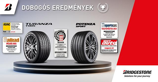 A Bridgestone két prémium terméke is kimagasló eredményekkel zárt a német autóklub és a neves magazinok idei nyári abroncs tesztjein. A Bridgestone Potenza Sport és Bridgestone Turanza T005 abroncsok több teszten is dobogós helyezést értek el száraz és nedves körülmények között.